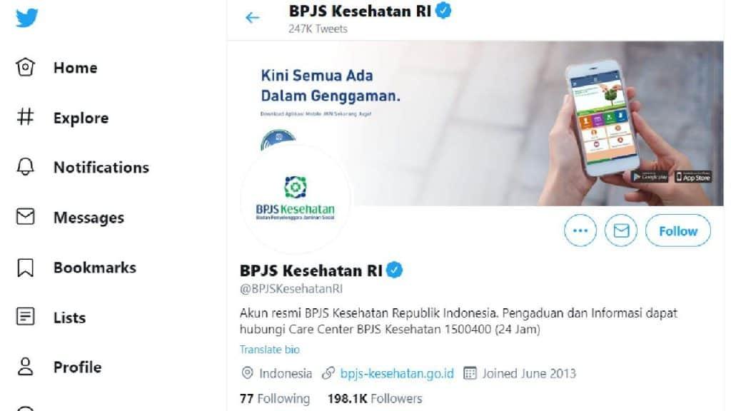Cek Nomor BPJS Kesehatan Melalui Media Sosial by Screenshot Twitter BPJS Kesehatan